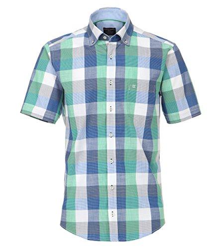 Casa Moda Casual Fit Kurzarmhemd Blockkaro blau grün weiss Gr. M bis 7XL (M)