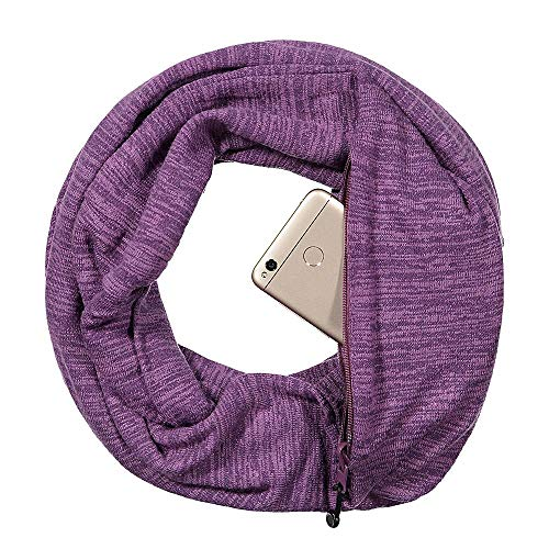 - Pop Fashion Travel-in-Style Pocket Scarf - Lightweight Heathered Travel Scarves, Infinity Scarves with Zipper Pockets (Purple)