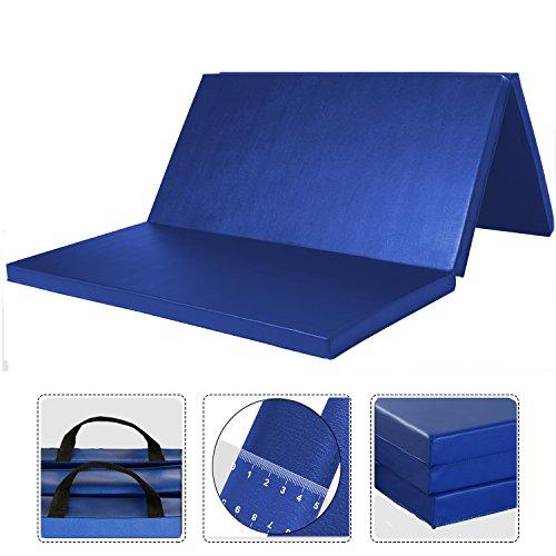 WolfWise 4'x6′ Gymnastic Mats Folding Exercise Mat Tri-Fold Tumbling Traning Fitness Panel Gym Pad, No-Slip Blue