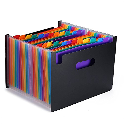 24 Pockets Expanding Files Folder/ A4 Expandable File Organizer/Portable Accordion File Folder/High Capacity Multicolour Stand/Plastic Business File Organizer - Accordion Tote File