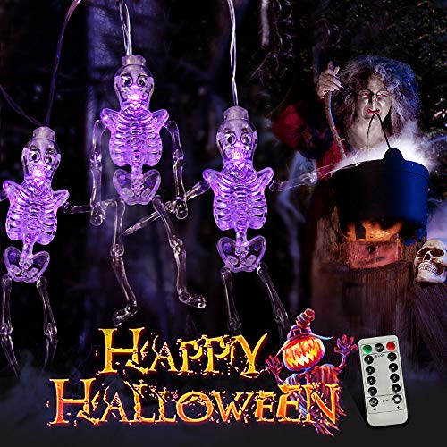 MZD8391 Halloween String Lights, Upgraded 22FT 30LEDs Skeleton Skull Halloween Decorations Lights with Remote Control, 8 Lighting Modes Battery Operated Outdoor Halloween -