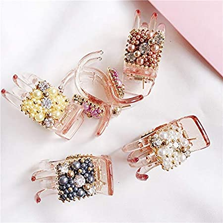 Girl's Hair Accessories Girl's Accessories Lovely Luxury Pearls Hairpins Hair Ornaments Trendy Hair Clip Shiny Rhinestone Crab Hair Claws For Women Girl Accessories Headwear