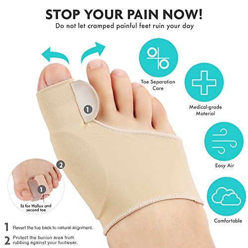 PediGoo Bunion Corrector Deluxe Kit, Fast Bunion Relief Sleeves with Gel, Pedicure Toe Separators Spacers, Arch Support Pads - Unisex Fit - 13 Pieces by PediGoo (Image #2)