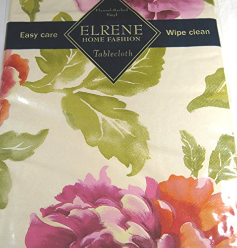 Elrene Large Assorted Flowers Flannel Back Vinyl Tablecloths Assorted Sizes Oblong and Round By (52 x 70 Oblong) by Elrene (Image #1)