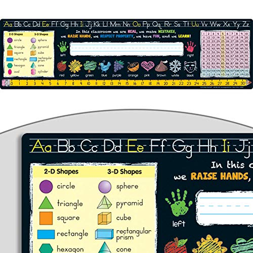 "Really Good Stuff Chalkboard-Style Desktop Helpers (Set of 24) - 18""x5"" Handy Desktop Reference for Numbers, Letters, Shapes, Colors and More - Durable Vinyl Self-Adhesive Resource for Student Desks"