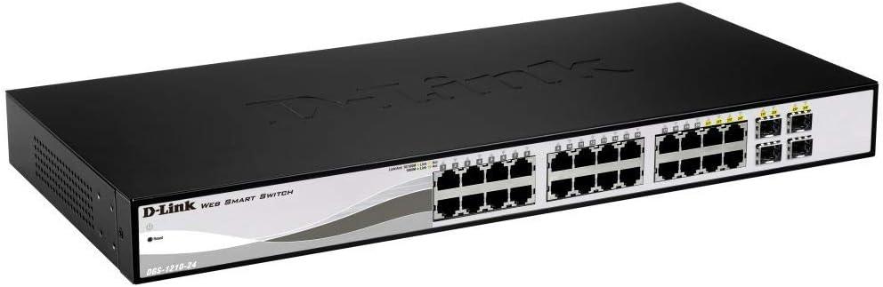 D-Link DGS-1210-24 - Switch 24 Puertos Gigabit y 4 Puertos SFP Combo 10/100/1000 Mbps (Altura 1U, VLAN Automática para Video Vigilancia y Telefonía IP), Negro