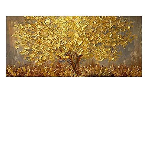 MAOYYM1 Ölgemälde Auf Leinwand handgemalt Gold Baum Messer Ölgemälde Handgemalte Große Palette 3D Gemälde Für Wohnzimmer Moderne Abstrakte Wandkunst Bilder (Kein Rahmen, Nur Leinwand)