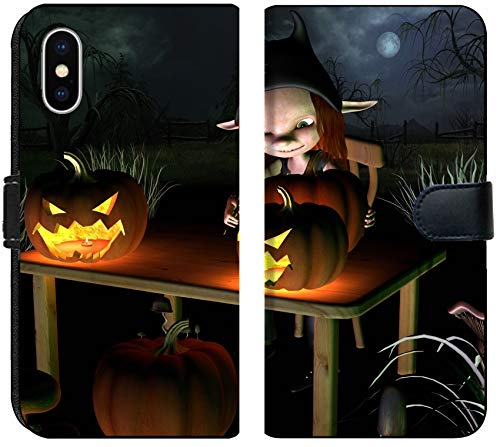 Liili Premium iPhone XS MAX Flip Micro Fabric Wallet Case Image ID 32913908 Little Goblin Carving Spooky Halloween Pumpkin Lanterns with Dark Halloween Background -
