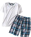 PNAEONG Men's Cotton Short Sleeve Tops and Shorts Pajamas Set SY227-Round White-L1