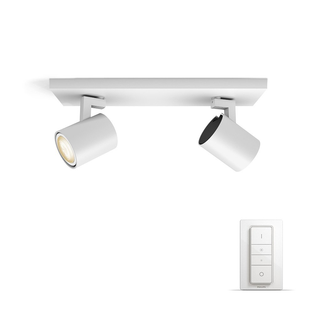 Philips Hue White ambiance Runner - Foco doble LED blanco con mando, Iluminación inteligente,