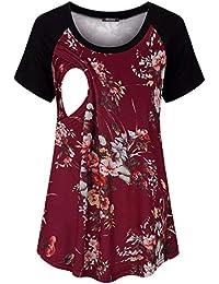 e9557639670 Womens Short Sleeve Maternity Nursing Tops Raglan Breastfeeding Shirts