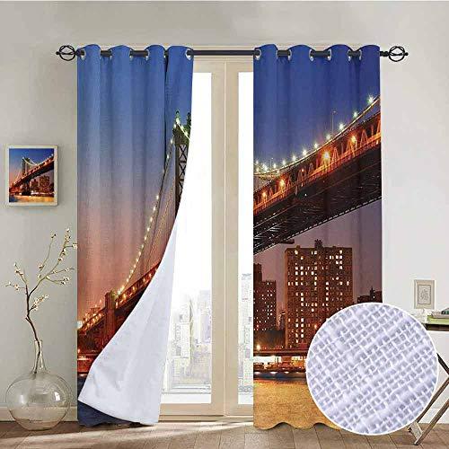 NUOMANAN Bedroom Curtain New York,Manhattan Bridge with Night Lights Over Hudson River Brooklyn Popular Town Image,Blue Orange,Insulating Room Darkening Blackout Drapes 52