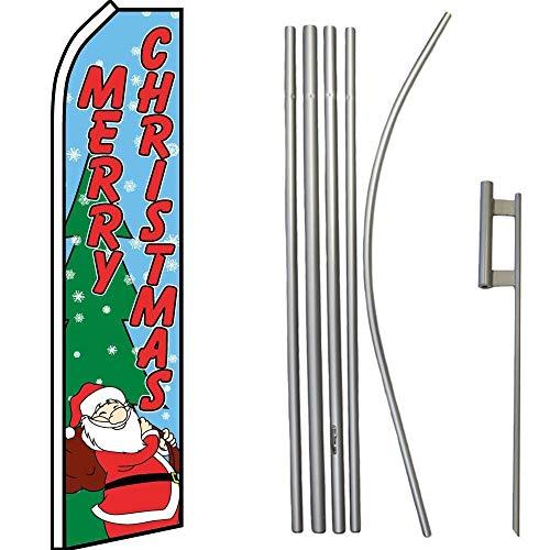 K's Novelties Merry Christmas Blue W/Tree/Santa Swooper Flag & 16ft Flagpole Kit/Ground -