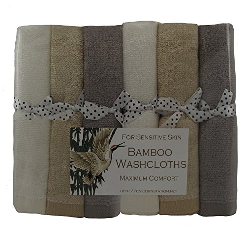 Unicorn Station Bamboo Washcloths for Ultra-Sensitive Skin. Maximizes Skin Care Comfort.Thoughtful Gift for Cancer Patients. Multicolor. (Multi)