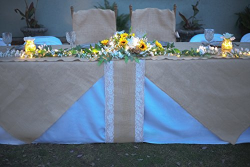 Burlap Table Runner with Lace {12'' x 360 inches Long} ~ A Burlap Fabric Roll with White Lace and Finished Edges ~ A Perfect Burlap Roll Lace Runner for Rustic Weddings and Events! by Designer Burlap (Image #4)