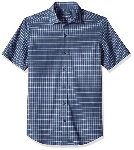 (BUTTONED DOWN Men's Tailored Fit Stretch Spread-Collar Short-Sleeve Non-Iron Shirt, Navy Check, 19