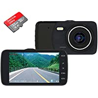 Car DVR Vehicle Camera Dash Cam Driving Video Recorder For Cars 1080P HD Camera 170 Degree Wide Angle Lens 4 Inches IPS Screen Night Vision Tachograph Included 32GB Card