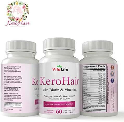KeroHair Biotin Vitamin Capsules for Hair Growth - Skin and Nail Strengthener Growth Supplement for Women and Men/Kerotin Formula
