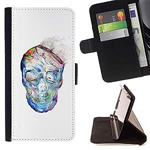 Momo Phone Case / Flip Funda de Cuero Case Cover - El polvo de la acuarela blanco del cráneo Esqueleto - Samsung Galaxy J3 GSM-J300