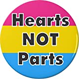 "Hearts NOT Parts Pansexual Flag 1.25"" Pinback Button Pin"
