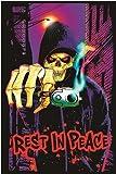 (23x35) Rest In Peace Grim Reaper Gun Blacklight Poster Print