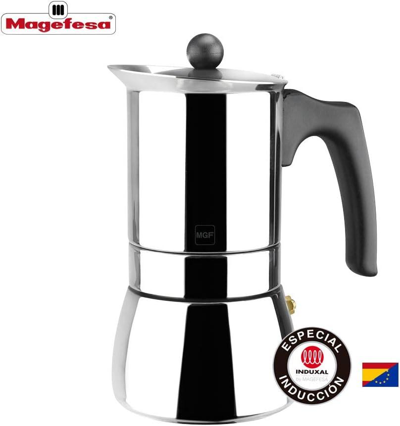 MAGEFESA Genova – La cafetera MAGEFESA Genova está Fabricada en Acero Inoxidable 18/10, Compatible con Todo Tipo de Cocina. Fácil Limpieza (Cromado, 10 Tazas)