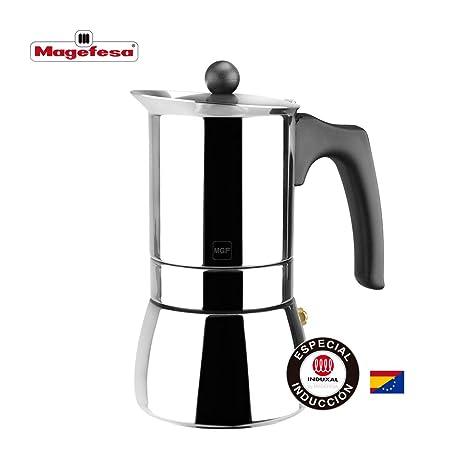 MAGEFESA Genova – La cafetera MAGEFESA Genova está Fabricada en Acero Inoxidable 18/10, Compatible con Todo Tipo de Cocina. Fácil Limpieza (6 Tazas)