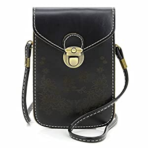 U-TIMES Women's Retro Flower Pattern Synthetic Leather Crossbody Shoulder Wallet Bag Cell Phone Pouch for iPhone 6/6S,6Plus/6S Plus,Note 5,Note 4,Galaxy S7,S7 Edge (Black)