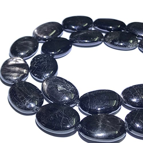 Labradorite Oval Beads ([ABCgems] Canadian Rainbow Hypersthene (Piano Black- Beautiful Flash) 12x16mm Smooth Oval Beads)