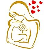 Stencils for Walls - Baby Love Stencil - 3 x 4 inch (S) - Reusable Mother Child Boy Girl Stencils for Painting - Use on Paper Projects Walls Floors Fabric Furniture Glass Wood etc.