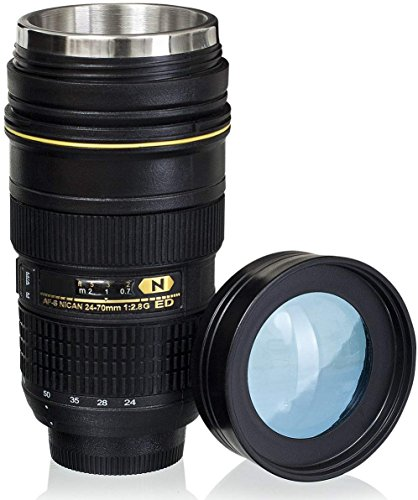 Wrcibor Lens Cup with Stainless Steel Insulated Tumbler, 1:1 Camera 24-70mm F2.8G Lens Imitation, 16oz (TRANSPARENT COVER) - Lens Graphic