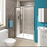 1100 x 760 mm Modern Sliding Cubicle Door Bathroom Shower Enclosure + Tray by iBathUK