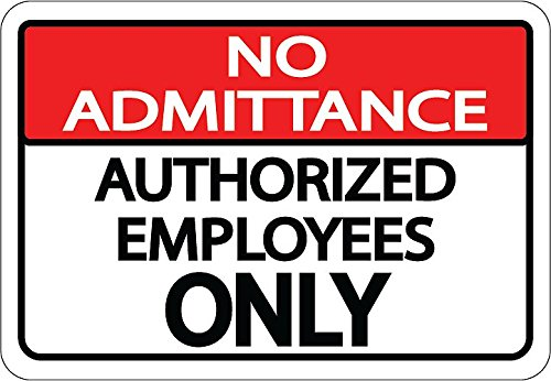 """""""Restricted Area Authorized Employees Only"""" - 12in Durable Floor Sign by Graphical Warehouse Vibrant Colors, Safety and Security Signage. Red/White/Black Rectangle"""