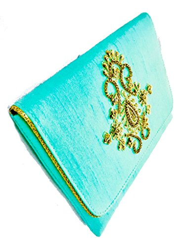 (Amor Women's Beautiful Fashion Clutch Embroidered Silk Bag Purse Lady Handbag (Pearl Aqua Green))