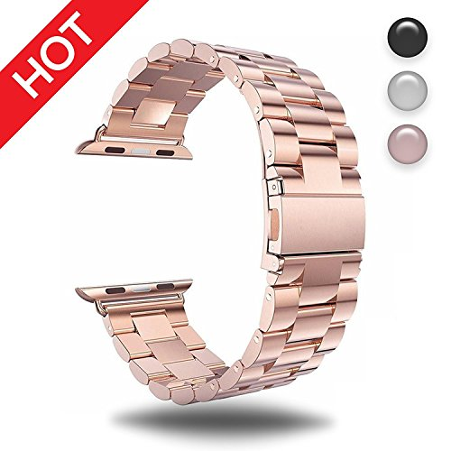 for Apple Watch Rose Gold 38MM Stainless Steel Strap Wristband for Replacement iWatch Strap with Comfortable Durable Folding Metal Clasp Classic Buckle Wrist Watch Strap by IDEAPLUS