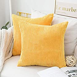 HOME BRILLIANT Decor Pillow Covers Decorative Soft Striped Corduroy Velvet Square Throw Pillows Mustard Sofa Cushion Covers Set Couch, 2 Pack, 18x18 inch (45cm), Sunflower Yellow