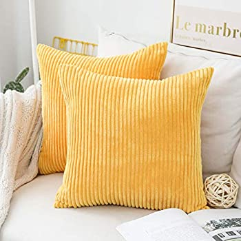 Home Brilliant Winter Decor Pillow Covers Super Soft Decorative Striped Corduroy Velvet Square Mustard Throw Pillow for Couch Sofa Cushion Covers Set of 2, 18x18 inch (45cm), Sunflower Yellow
