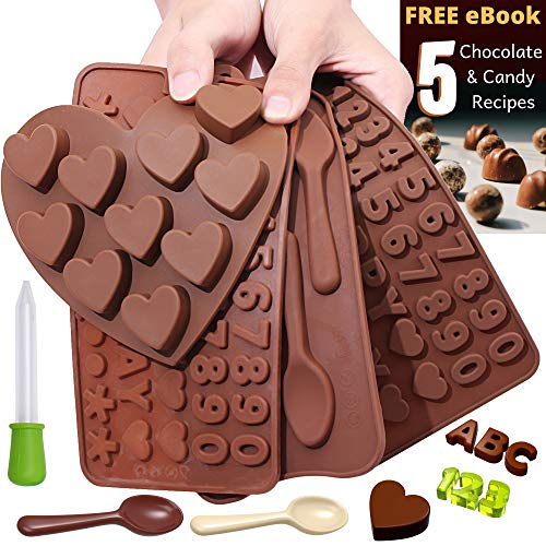 (Chocolate Candy Silicone Mold Trays + Recipes eBook - Nonstick, BPA-Free - Make Chocolate Shapes, Gummy Candies, Hard Candy and Ice (ABC's, Numbers, Spoons and Hearts - 4 Trays))