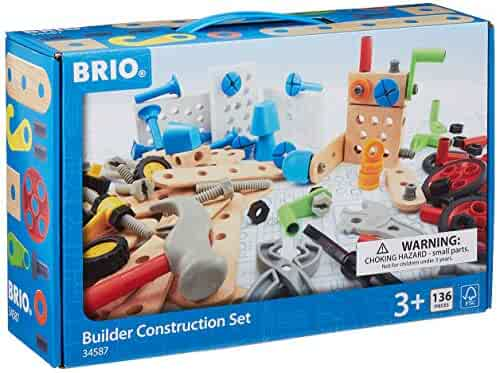 BRIO Builder 34587 - Builder Construction Set - 135-Piece Construction Set STEM Toy with Wood and Plastic Pieces for Kids Age 3 and Up