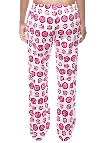 Twin Boat Pantalón Pijama de Franela de Algodón para Mujer (2 Pack) Mandala/Diva Lunares Rojo
