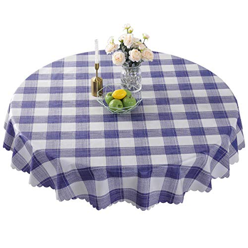 Round Vinyl Oilcloth Tablecloth Waterproof PVC Plastic Wipeable Spillproof Peva Heavy Duty Stainproof Vinyl Tablecloth for Card Table Blue Checker 70 Inch (Wipeable Tablecloth Round)