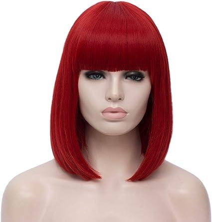 ATAYOU® Pelucas Rojo Cortas de Mujer Bob Peluca Sintética Recta ...