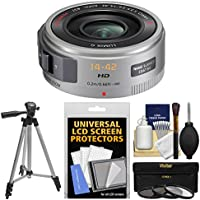 Panasonic Lumix G X Vario PZ 14-42mm f/3.5-5.6 ASPH OIS Power Zoom Lens (Silver) with 3 Filters + Tripod + Kit