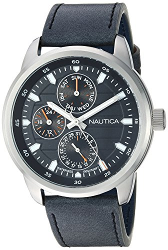 Nautica Men's 'FORBELL COLLECTION' Quartz Stainless Steel and Leather Casual Watch, Color:Black (Model: NAPFRL003)
