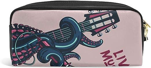 G.H.Y Lindo Estuche para lápices Octopus Tentáculos y Guitarra Cita de música en Vivo Estuches para lápices Organizador Bolso de Maquillaje de Cuero de PU: Amazon.es: Hogar
