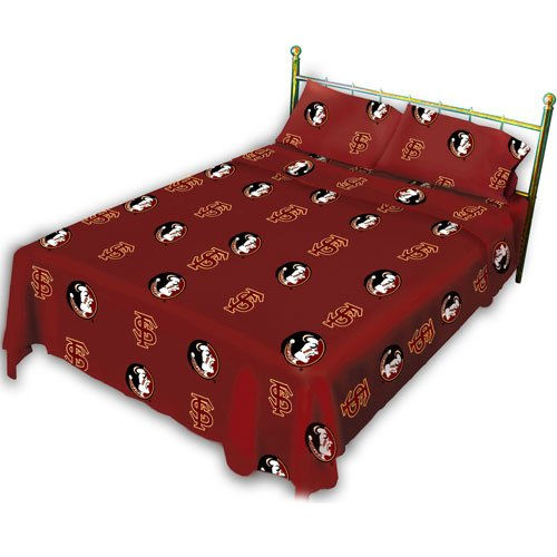College Covers Florida State Seminoles Printed Solid Sheet Set,