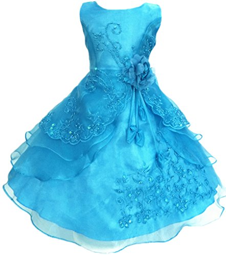 Shiny Toddler Little Girls Embroidered Beaded Flower Girl Birthday Party Dress with Petticoat 5t-6t,Turquoise