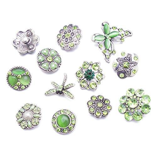 Alliage Soleebee 12pcs strass même couleur Boutons Bijoux Charms (Vert clair)