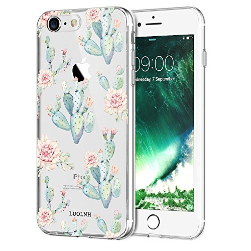 iPhone 6 case,iPhone 6s Case with flowers, LUOLNH Slim Clear Chrome Gold Floral Pattern Soft Flexible TPU Back Cover Case for Apple iPhone 6/6s [4.7 inch] -B