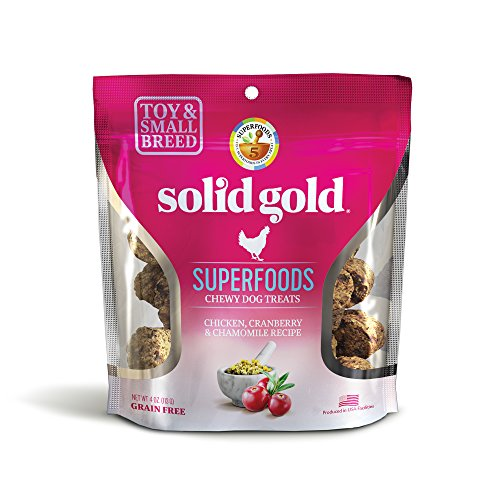 Solid Gold Superfoods Treats for Small & Toy Breeds; Chicken, Cranberry & Chamomile Recipe; Grain Free Chewy Dog Treats; 4 oz